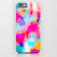 Zayda - Bright pink and blue abstract art iPhone 6 Slim Case