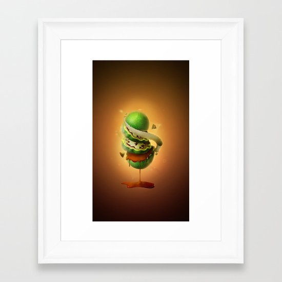 Sliced Green Wallnut Framed Art Print