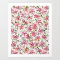 Pink Painted Blossom Pat… Art Print