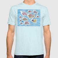 Colorful Swimming Mens Fitted Tee Light Blue SMALL
