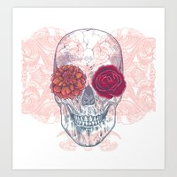 Double Flowers Skull Art Print