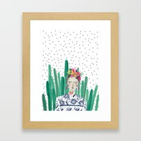 Frida Kahlo. Art, print, illustration, flowers, floral, character, design, famous, people, Framed Art Print