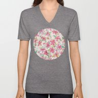 Pink Painted Blossom Pat… Unisex V-Neck