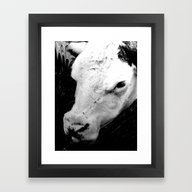 Framed Art Print featuring Portrait Of A Cow by Jen Warmuth Art And …