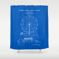 Ferris Wheel Patent - Blueprint Shower Curtain