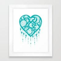 Heart-Catcher Teal Framed Art Print