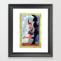 Lady Flap Framed Art Print