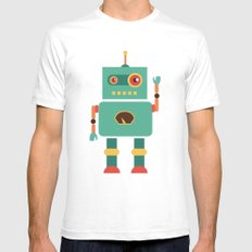 Fun Robot Toy Graphic Mens Fitted Tee White SMALL