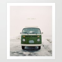 LIVE SIMPLY. Vintage Volkswagen Van.  Art Print