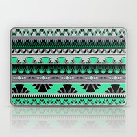 art deco stripes - green & pale purple Laptop & iPad Skin