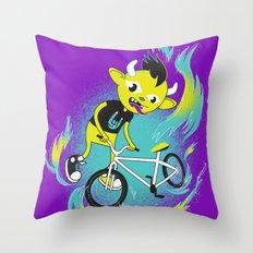 Monster Pixie Riding a Fixie Throw Pillow