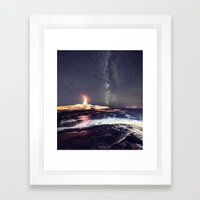 Lighthouse in the Summer Sky Framed Art Print