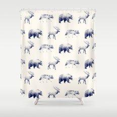 Wild Pattern // Blue Shower Curtain