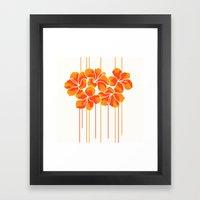 Hibiscus Stripe: Orange … Framed Art Print