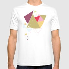 Exploding Triangles//Four Mens Fitted Tee SMALL White