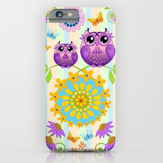 Cute Owls, Paisley shapes and Flowers iPhone & iPod Case