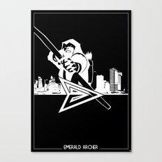 Green Arrow Silhouette Black & White Canvas Print