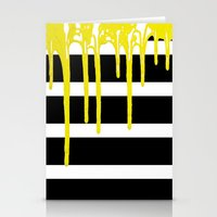 Striped Drip Yellow Stationery Cards