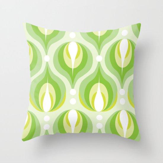 Green Dew Drops Throw Pillow