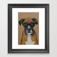 Hipster Boxer Dog Framed Art Print