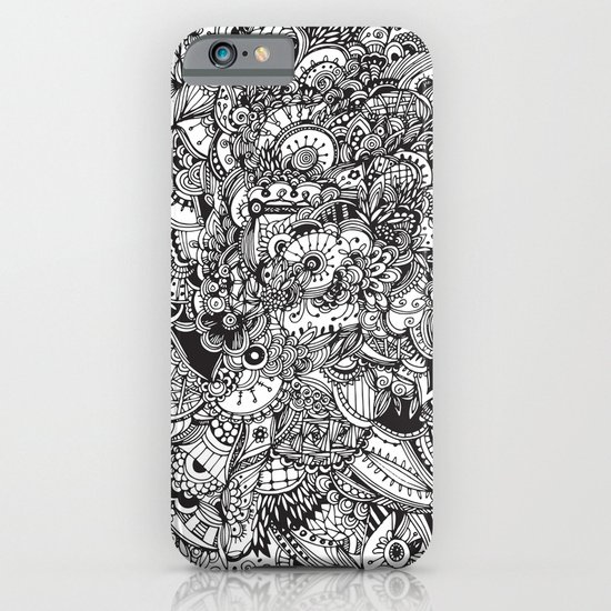 Black and white zentangle inspired art, Detailed rectangle, b&w doodle iPhone & iPod Case