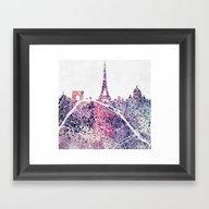 Paris Skyline + Map #1 Framed Art Print
