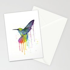 Hummingbird Rainbow Watercolor Stationery Cards