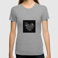 Heart2 Black Womens Fitted Tee Tri-Grey SMALL