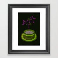 Purple Planted Teacup Framed Art Print