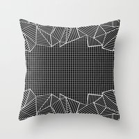 Grids And Stripes Black Throw Pillow