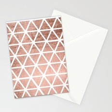 Geometric faux rose gold foil triangles pattern Stationery Cards