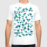 Triangles Blue and Green Mens Fitted Tee White SMALL