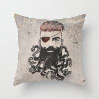 Black Beard Throw Pillow