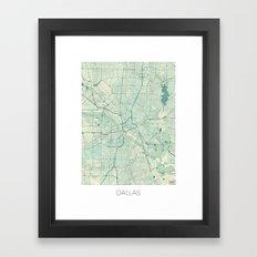 Dallas Map Blue Vintage Framed Art Print