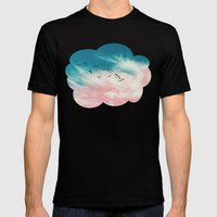 EVENING BIRDS Mens Fitted Tee Black SMALL