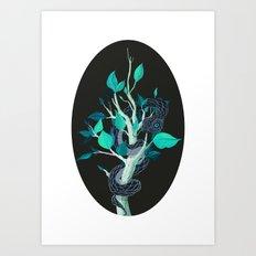Snake - Blue Art Print