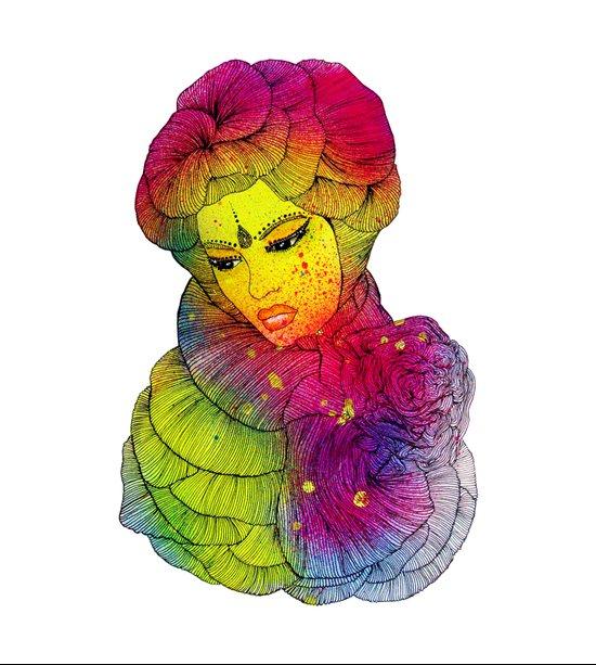 Rainbow Flower Girl Art Print