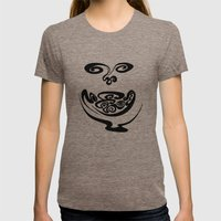 Smiley Face Womens Fitted Tee Tri-Coffee SMALL