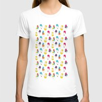 Ice cream pattern - light blue Womens Fitted Tee White SMALL