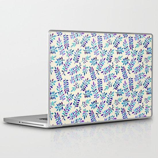 Hand Painted Purple & Aqua Leaf Pattern on Cream Laptop & iPad Skin