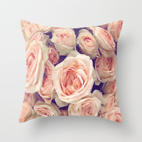 Pink Roses In A Bubble Throw Pillow