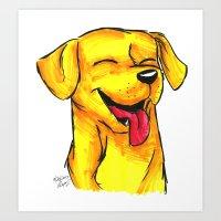 Brush Breeds-Yellow Labr… Art Print