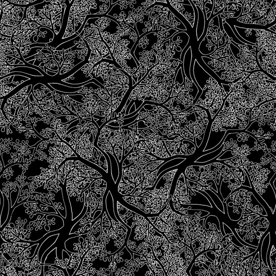 Tree Repeat Black Art Print