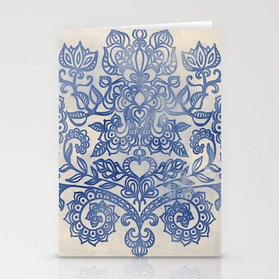 Indigo Blue Denim Ink Doodle Stationery Card
