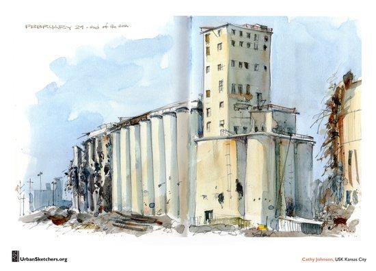 "Cathy Johnson, ""Grain Elevators"" Canvas Print"