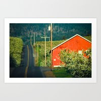 Hilly Country Road, Hood… Art Print