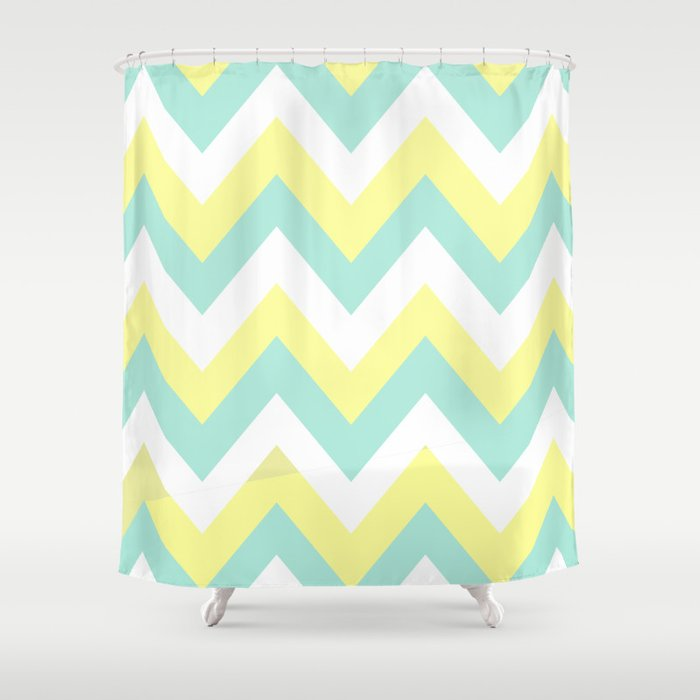 mint yellow chevron shower curtain by natalie sales