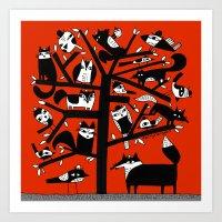 ANIMAL TREE RED Art Print