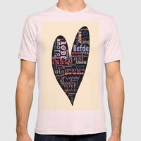 Multilingual Love Mens Fitted Tee Light Pink SMALL