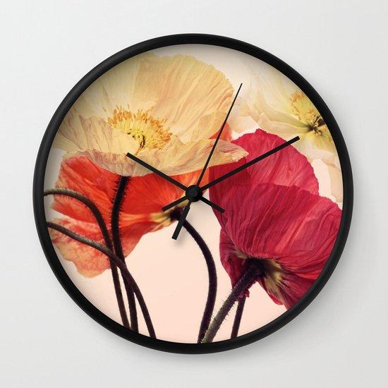 Posing Poppies - bright, vintage toned poppy still life Wall Clock